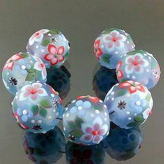 PIKALDA=handmade lampwork 7 glass beads flower blossom=AQUA-BLUE GARDEN=SRA