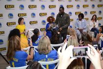 """Warriors forward Jordan Bell and his mother, Carolyn Gray, and forward Draymond Green and his mother, Mary Babers-Green are taking part in a """"Most Valuable Moms"""" event tonight at the Rakuten Performance Center (1011 Broadway in Oakland)."""