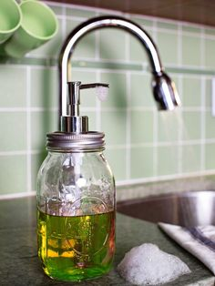 Upcycled Mason jar for a soap dispenser (be sure to coat metal with some type of sealant to prevent rust!) #DIY #home #kitchen