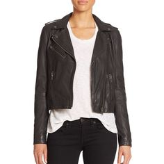 Doma Washed Leather Moto Jacket (1.595 BRL) ❤ liked on Polyvore featuring outerwear, jackets, apparel & accessories, moto jacket, motorcycle jacket, real leather jackets, snap jacket and rider jacket