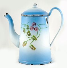 Items similar to Vintage antique French coffee pot blue enamel decorated with roses on Etsy Old Kitchen, Vintage Kitchen, French Antiques, Vintage Antiques, French Coffee, Pot Sets, Kettle, Tea Pots, Shabby Chic