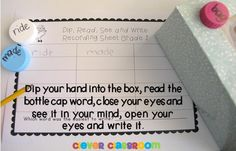 Bottle Cap Box Word Centers x 5 {for any word list} for Grades 1-3 $