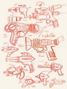 Flash Gordon ray gun sketches by Joey Ellis