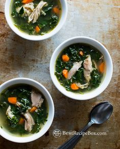 Healthy Turkey and Kale Soup Recipe- perfect for leftover turkey on BestRecipeBox.com << leave out the carrots to keep it keto
