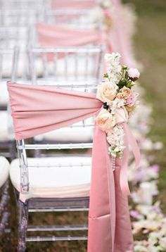 wedding chair decor ~ last row will have flowers at the end. This would be good for first few rows in front where family of bride and groom sit.