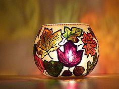 Роспись подсвечника «Осень золотая» | Ярмарка Мастеров - ручная работа, handmade -photo tutorial