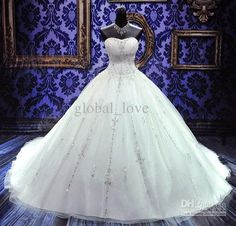 Wholesale On Sale Stunning Custom Made Crystal Adorned Bridal Ball Gown Wedding Dress 2013 with beading, Free shipping, $1831.2-1848.0/Piece | DHgate