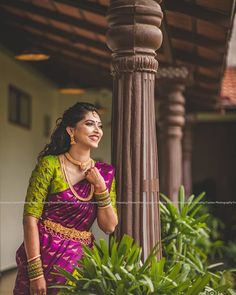 Image may contain: one or more people and people standing South Indian Wedding Saree, Wedding Silk Saree, South Indian Bride, Bridal Lehenga, Indian Bridal, Half Saree Designs, Blouse Designs Silk, Bridal Blouse Designs, Saree Gown