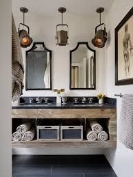 What is Masculine Bathroom Design? Masculine bathroom design has become a popular style choice amongst interior designers. It is a style that incorporates dark moody tones, rugged woods, industrial metal accents, textured Reclaimed Wood Bathroom Vanity, Industrial Bathroom Design, Wood Sink, Rustic Vanity, Restoration Hardware Bathroom Vanity, Reclaimed Wood Vanity, Restoration Hardware Lighting, Farmhouse Vanity, Industrial Interior Design