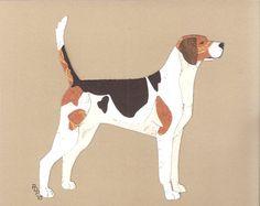 English Foxhound handmade original cut paper collage dog art