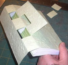CSB Hidden - Crossed Structure binding - It has little windows for the sewing to show through and the D-panel on the back cover to poke through.--- by My Handbound Books - Bookbinding Blog