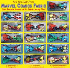 BowTies Made From Marvel Comics Fabric - Take Your Pick From 22 Great Looking SEWN-BY-HAND Hero Bow Ties - 1.49 Shipping on Etsy, $15.88