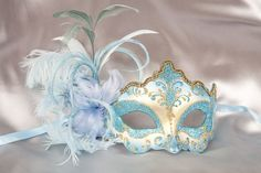 Venetian Masquerade Masks with Feathers and Stick - DANIELA GOLD