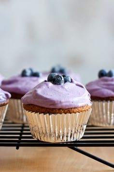 Almond flour lemon cupcakes with blueberry whipped cream frosting: almond flour, coconut oil, honey, eggs, vanilla, lemon extract, lemon zest, salt, baking soda. FROSTING: whipping cream, cream cheese, blueberries, honey
