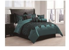 10-piece Damask Flocking Comforter Set