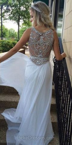 Scoop Neck Sheath/Column Ivory Chiffon Tulle with Beading Sweep Train Amazing Prom Dresses