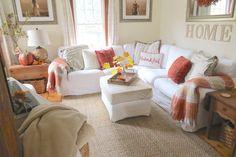 The Long Awaited Home: Fall Home Tour 2015.  Ikea sectional sofa.  Ektorp, blekinge white.  Ikea ottoman.  Pillows (Target, Pottery Barn, Homegoods, Ikea), blankets (Homegoods).