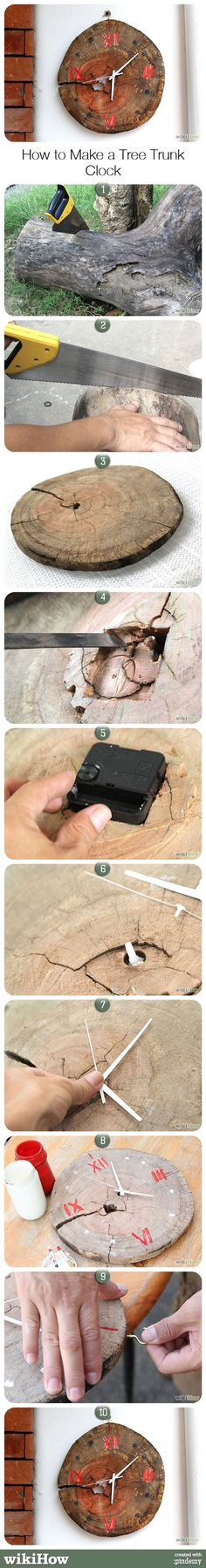 How to Make a Tree Trunk Clock Rustic Wall Clocks, Wood Clocks, Wood Projects, Woodworking Projects, Woodworking Plans, Wood Crafts, Diy And Crafts, Diy Wood, Trunk Furniture