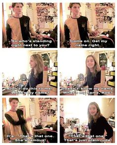 Robert Pattinson and Emma Watson teasing each other on the set of Harry Potter.: