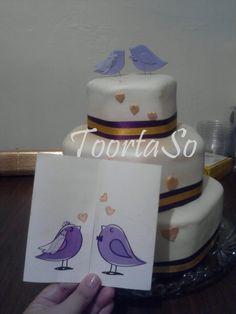 Tarjeta y torta de boda