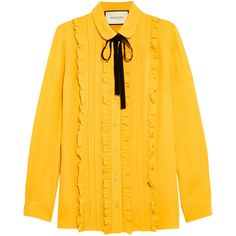 Gucci Ruffled silk shirt (1,235 CAD) ❤ liked on Polyvore featuring tops, blouses, shirts, gucci, silk ruffle blouse, shirt blouse, mustard shirt, ruffle shirt and mustard yellow shirt
