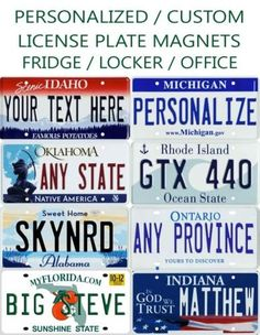 Personalized Mini License Plate Fridge / Hot Wheels / Car Magnet Any State / Province / Team Any Text