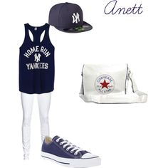 """""""Untitled #20"""" by anett-keberlova on Polyvore #polyvore #outfit #converse #farfetch #nelly #ny #vs #yankees #blue #white"""