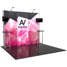"""111.25""""w x 94.75""""h x 34.75""""d Aluminum extrusion frame 2 x push-fit fabric graphic panels 1 x illuminated push-fit fabric Graphic panel with interior LED lights 2 x tables 2 x Lumina 200 LED floodlights 2 x small monitor mounts, can hold monitor 13-39""""/max weight 25 lbs 2 x OCH2 cases LCD monitors not included"""