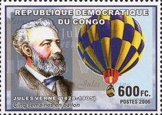 "Stamp: ""Cinq semaines en ballon"" (Congo, Democratic Republic (Kinshasa)) (Jules Verne (1828-1905)) Mi:CD 2296"
