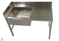 KITCHEN SINKS :: Welded Stainless Steel INDUSTRIAL Sink Table with Backsplash