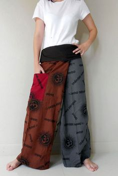 Boho Hippie gypsy Ohm pattern cotton patchwork Thai fisherman pants S M L XL (N54)
