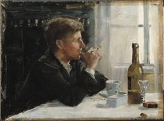 Man Seated at a Table Paintings | Elin Kleopatra Danielson Gambogi paintings