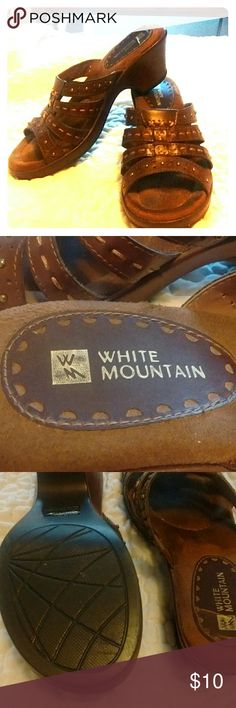 White Mountain brown sandals Pretty brown sandals with contrast colored stitching (see 3rd photo). Good condition. Only worn several times. White Mountain Shoes Sandals