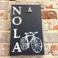 NOLA Bicycle with Picture Clip/Wooden Sign/Distressed Sign/New Orleans/Cyclist/NOLA by NAWLINSGIRLDESIGNS on Etsy