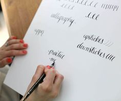 Learn calligraphy online - free - with this easy step-by-step tutorial & complimentary printables via www.julieblanner.com with Oh So Mrs