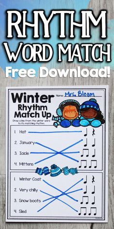 These free printable rhythm worksheets are a winter-y way to assess your students' understanding! Each of the 5 rhythm worksheets ask students to match two beat phrases with corresponding seasonal words. A quick, fun, and free rhythm activity