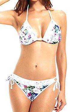 53e0277929671 ARRIVE GUIDE Womens Fashion Sexy Lace Print Flower Padded Bikini Swimsuit  white Small