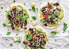 Vegan Tacos with fresh vegetables, avocado and horseradish sour cream - by eat-this.org