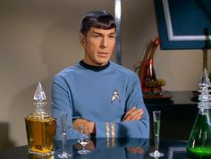 "Among the various pieces of barware seen in the third season episode ""Let That Be Your Last Battlefield"" was a lovely hand-blown glass decanter, positioned at the table between Captain Kirk and Mister Spock. Kirk and Spock had a get-together for the evening with Commissioner Bele of the planet Cheron in Bele's quarters."