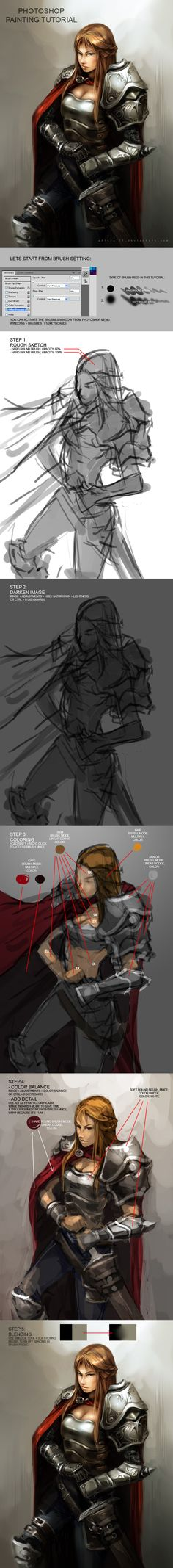 Photoshop paint tutorial.  By aditya777. Source: deviantART