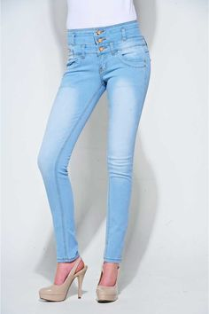 Davina High Waisted Pale Skinny Jeans at Pop Couture, Just got them, they're so comfy and gorgeous!