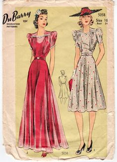 """Vintage Sewing Pattern 1940's Ladies Dress & Gown Dubarry 5058 Size 34"""" Bust"""