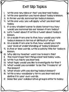 subjects Exit Slips - Exit Slips for All Subjects Grade Instructional Coaching, Instructional Strategies, Teaching Strategies, Teaching Resources, Teaching Ideas, Teaching Secondary, Student Teaching, Teaching Science, Exit Slips