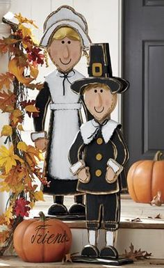 priscilla and john pilgrim figurines Thanksgiving Wood Crafts, Thanksgiving Decorations Outdoor, Fall Crafts, Holiday Crafts, Halloween Decorations, Thanksgiving Blessings, Wood Craft Patterns, Happy Turkey Day, Pilgrim