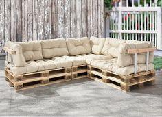 Palettenkissen (Sitzauflage und Rückenkissen) Diese Polster-Kissen sind perfekt für Ihr eigenes modernes Euro-Paletten-Sofa. Die Bezüge der Kissen sind aus wasserdichten und hochwertigen Materialien. Die Kissen verfügen über eine langlebige und punktelastische Schaum-Flocken-Füllung. So lassen sich individuelle und bequeme Sitzmöbel aus Euro-Paletten bauen. Das trendige Möbelstück ist bspw. perfekt geeignet für Ihr Heim, Ihren Garten oder Ihren Wintergarten.