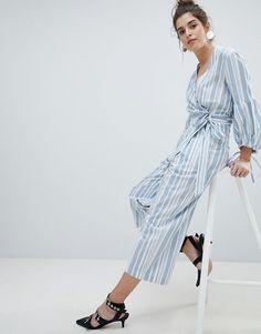 Crop Trousers In Stripe Co-Ord - Blue stripe Neon Rose Vqs2I
