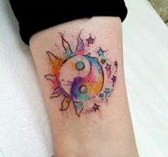 live the concept of this tattoo... the Ying Yang turned into the moon, sun & stars. ❤❤❤