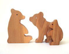Panda Bear Family Waldorf Wood Animal Toys Wooden Zoo Animals Hand Cut Scroll Saw