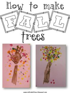 How to make fall trees - great for teaching kids colors in ASL as well as the sign for tree! Fall Art Projects, School Art Projects, Fun Activities For Kids, Autumn Activities, Teaching Kids Colors, Teaching Ideas, Kindergarten Rocks, Fall Trees, Classroom Crafts