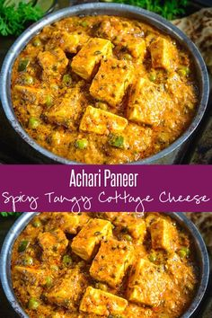indian food Achari Paneer is an Indian cottage cheese curry made using pickling spices. Slightly tangy and full of flavors, this curry goes perfect with Indian breads. Here is how to make Achari Paneer. Indian Paneer Recipes, North Indian Recipes, Indian Food Recipes, Pakistani Food Recipes, Indian Vegetarian Recipes, Mushroom Recipes Indian, Nepalese Recipes, Easy Paneer Recipes, Recipes